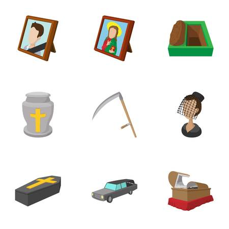 Funeral icons set, cartoon style Stock Photo