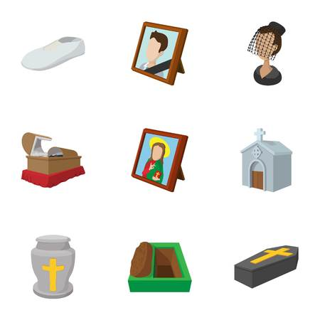 Burial icons set, cartoon style
