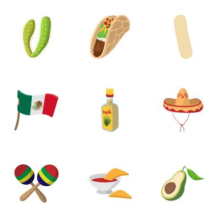 Stay in Mexico icons set, cartoon style Stock Photo
