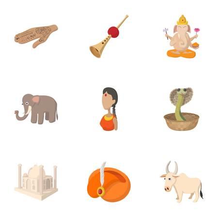 Country of India icons set, cartoon style Stock Photo