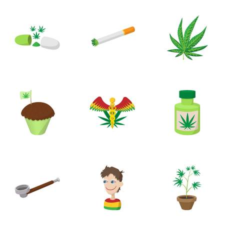 Hashish icons set, cartoon style