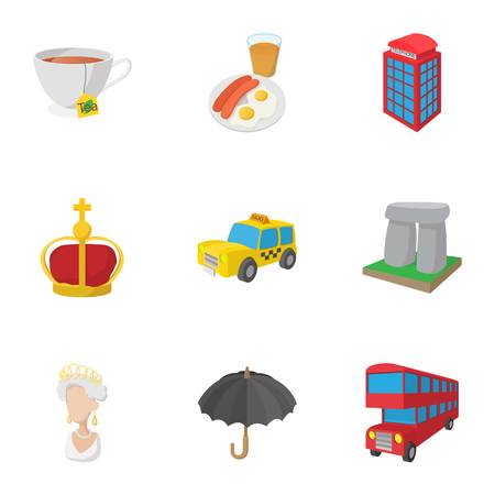 Holiday in United Kingdom icons set, cartoon style Stockfoto