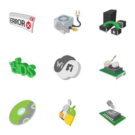 Computer repair icons set, cartoon style Stock Photo