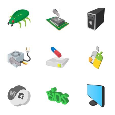 Treatment computer icons set, cartoon style Stock Photo