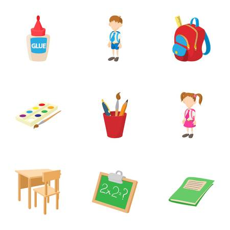 Children education icons set. Cartoon illustration of 9 children education icons for web