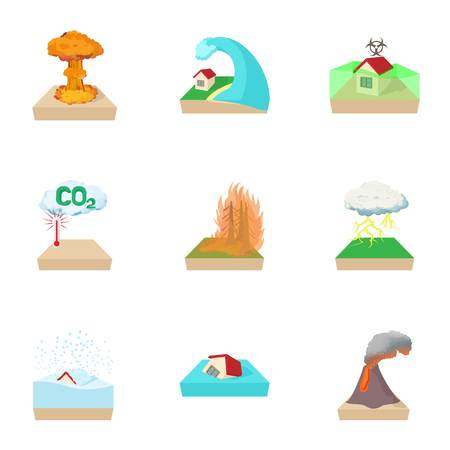 Natural cataclysm icons set. Cartoon illustration of 9 natural cataclysm icons for web