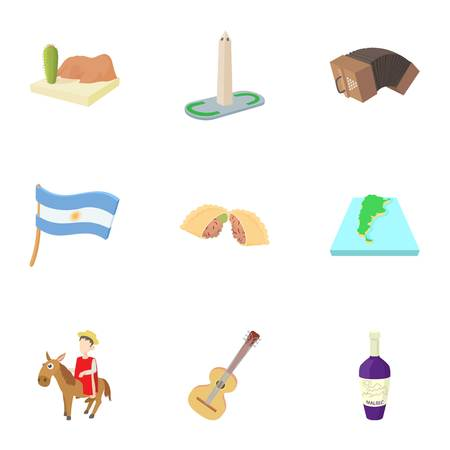 Holiday in Argentina icons set. Cartoon illustration of 9 holiday in Argentina icons for web