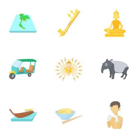 Thailand icons set. Cartoon illustration of 9 Thailand icons for web