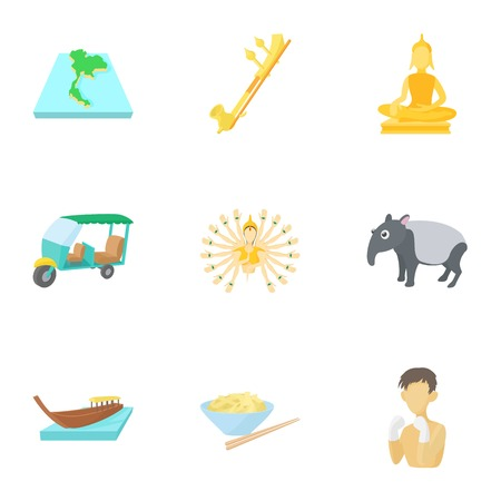 Thailand icons set. Cartoon illustration of 9 Thailand icons for web Stock Illustration - 107860137