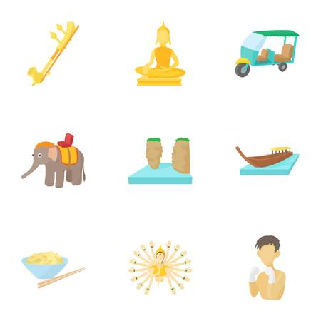 Country Thailand icons set. Cartoon illustration of 9 country Thailand icons for web Stock Illustration - 107860138