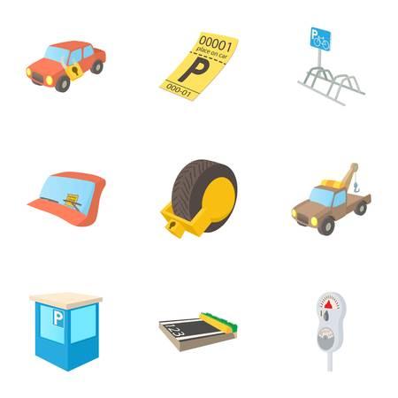 Parking station icons set. Cartoon illustration of 9 parking station icons for web