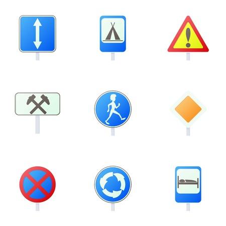 Sign warning icons set. Cartoon illustration of 9 sign warning icons for web Archivio Fotografico