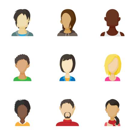 Avatar icons set. Cartoon illustration of 9 avatar icons for web