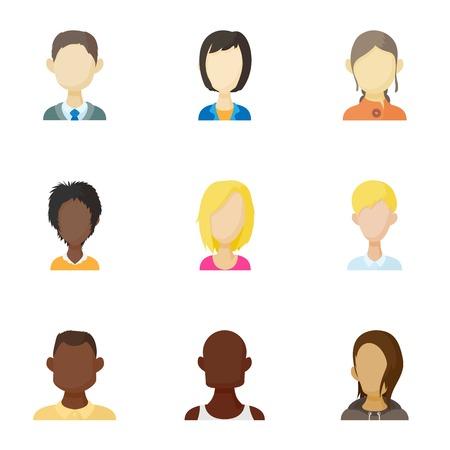 Different avatar icons set. Cartoon illustration of 9 different avatar icons for web