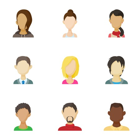 Avatar of different people icons set. Cartoon illustration of 9 avatar of different people icons for web