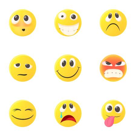 Emoticons for chatting icons set. Cartoon illustration of 9 emoticons for chatting icons for web