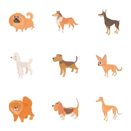 Dog icons set. Cartoon illustration of 9 dog icons for web Stock Photo
