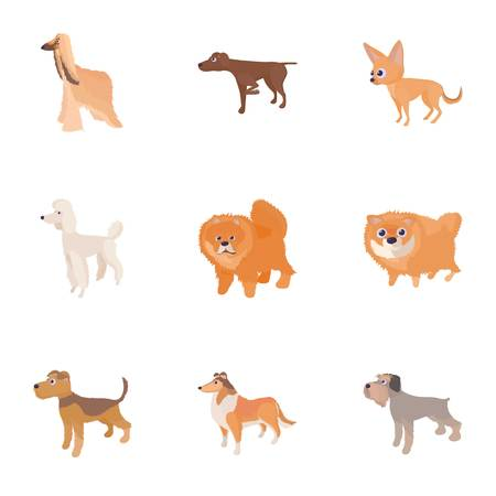 Types of dogs icons set. Cartoon illustration of 9 types of dogs icons for web