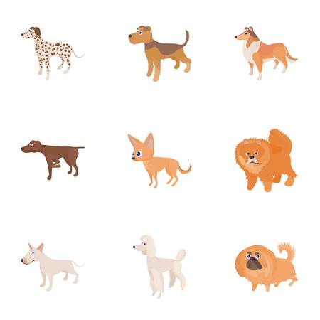 Doggy icons set. Cartoon illustration of 9 doggy icons for web