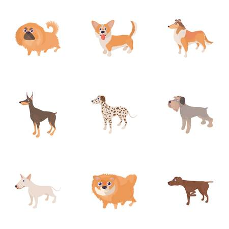 Pet dog icons set. Cartoon illustration of 9 pet dog icons for web Stock Photo