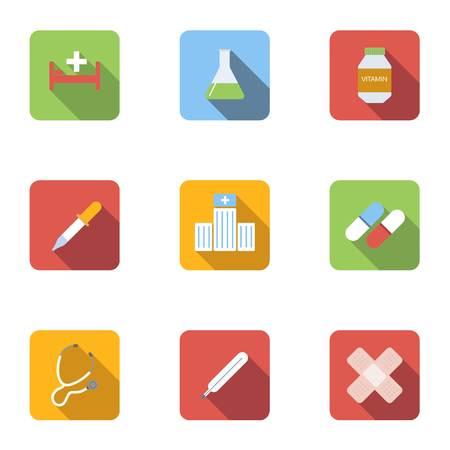 Diagnosis icons set, flat style