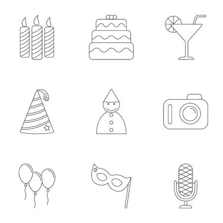 Birthday party icons set, outline style Stock Photo