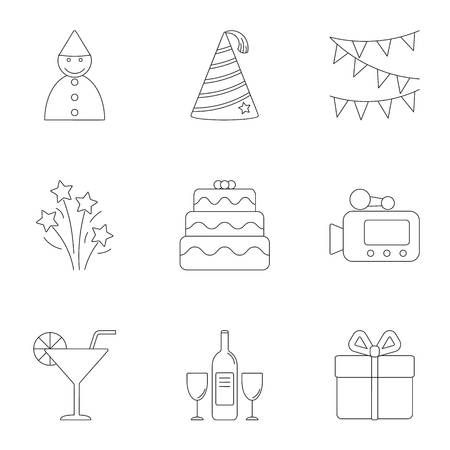 Holiday birthday icons set, outline style
