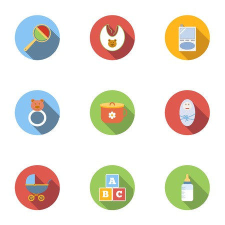 Things for baby icons set. Flat illustration of 9 things for baby icons for web Banque d'images - 107860821