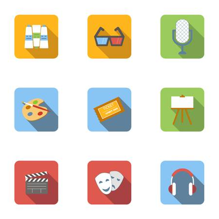 Art and creativity icons set, flat style