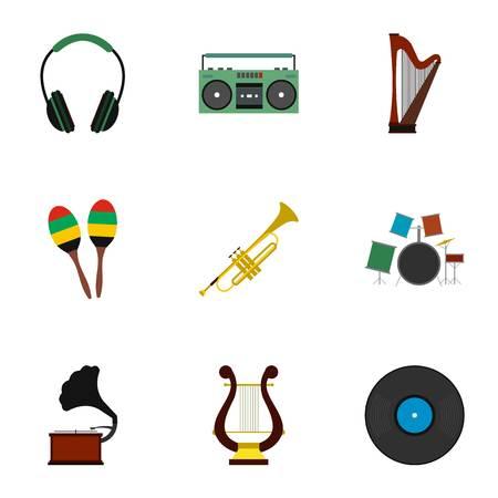 Device for music icons set, flat style Foto de archivo