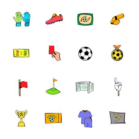 Soccer icons set cartoon