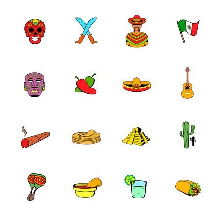 Mexico icons set cartoon Stock Photo