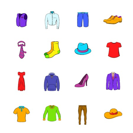 Clothes icons set cartoon Stock Photo