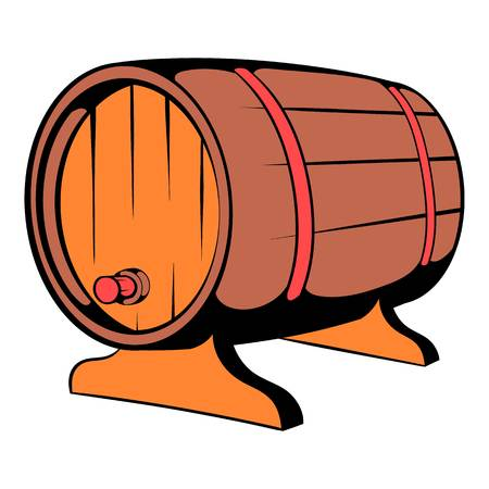 Wooden barrel of beer with a tap icon icon cartoon