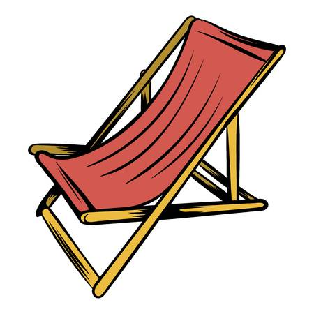 Wooden beach chaise icon cartoon