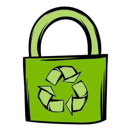 Green eco bag icon cartoon