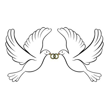 Boda, dos, palomas, icono, caricatura Foto de archivo