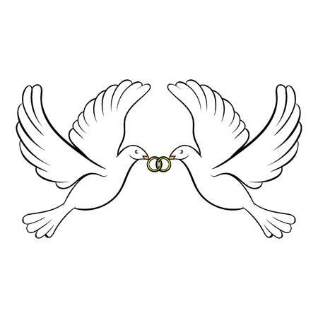 Bruiloft twee duiven pictogram cartoon Stockfoto