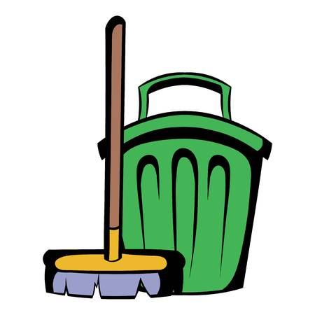 Broom and bucket icon cartoon