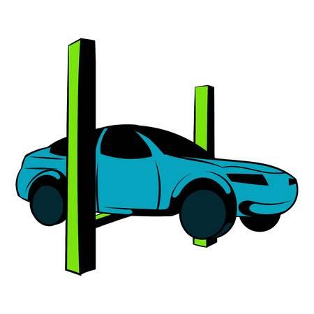 Car on the lift icon cartoon