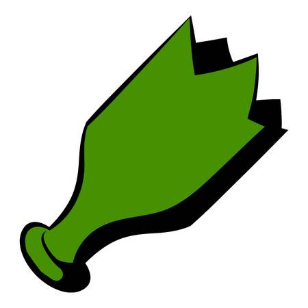 Shattered green bottle icon, icon cartoon