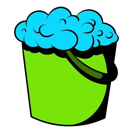 Bucket with foamy water icon, icon cartoon Stock fotó