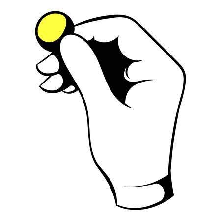 Hand putting a golden coin icon, icon cartoon