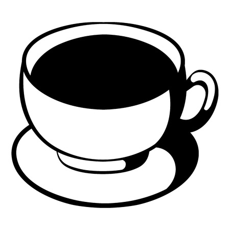 Cup of coffee icon in cartoon style isolated illustration