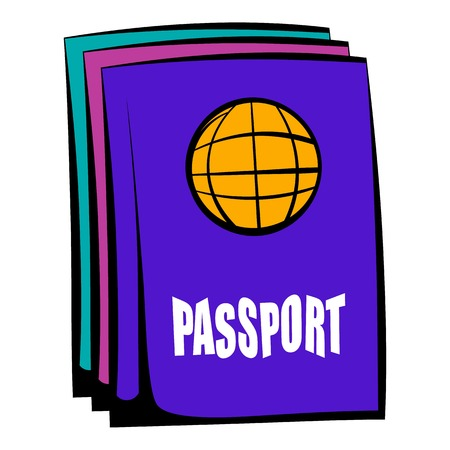 Passport icon in cartoon style isolated illustration Stock Photo