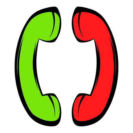 Two handsets icon in icon in cartoon style isolated illustration