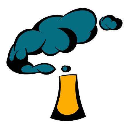 Industrial smoke from chimney icon in icon in cartoon style isolated illustration