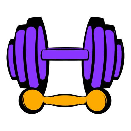 Barbell and dumbbells icon, icon cartoon