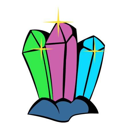 Crystals icon, icon cartoon