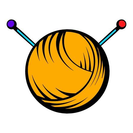 Knitting thread and needles icon, icon cartoon